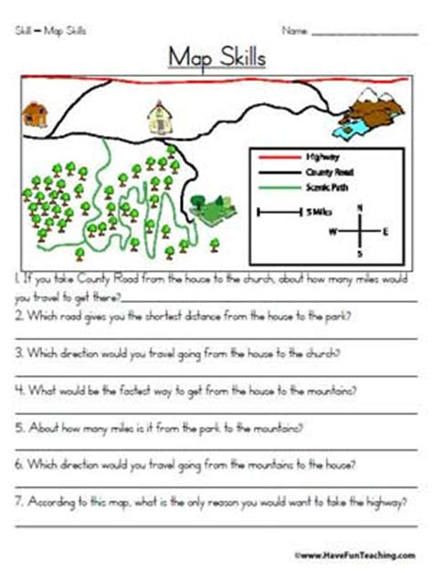 Free Map Skills Worksheets by Map Skills Worksheet Education World