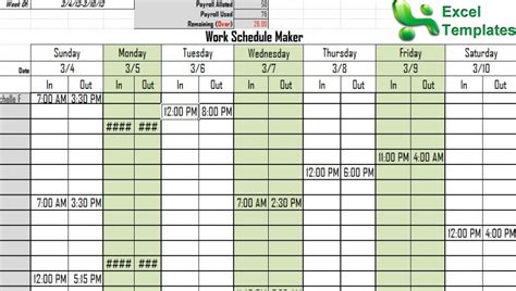 pin work schedule template on pinterest