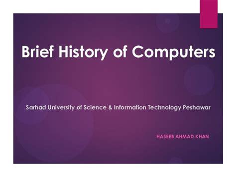 brief history of computer brief history of computers