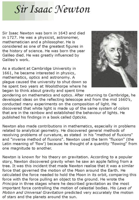 isaac newton calculus biography grade 7 reading lesson 13 biographies isaac newton 1