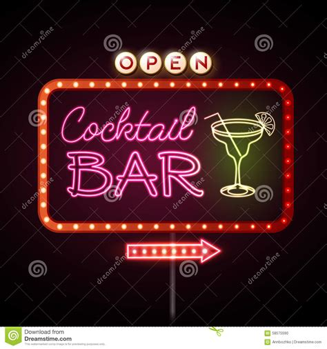 martini bar sign neon sign cocktail bar stock vector image of line