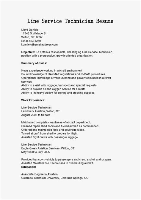 Line Service Technician Sle Resume by Resume Sles Line Service Technician Resume Sle