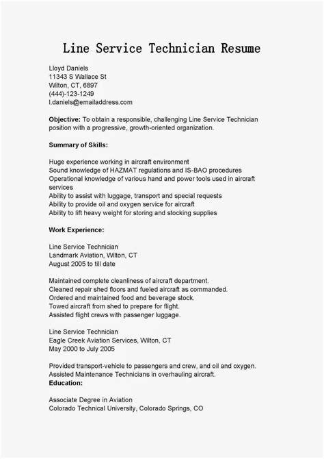 Line Service Technician Sle Resume by Resume Sles Line Service Technician Resume Sle