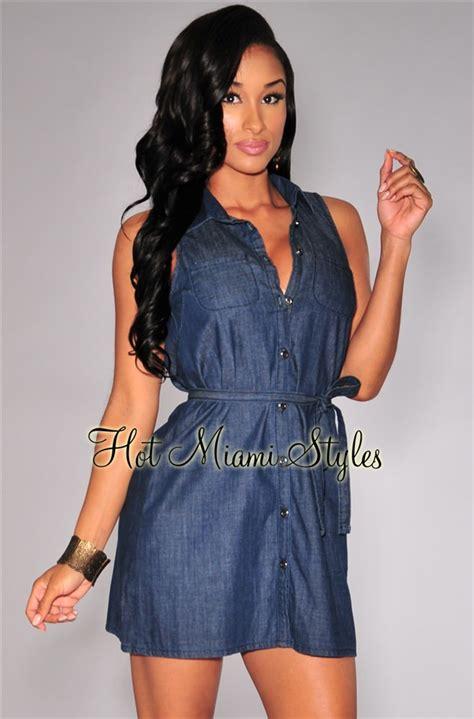 Denim Black Belted Dress denim button collared belted shirt dress