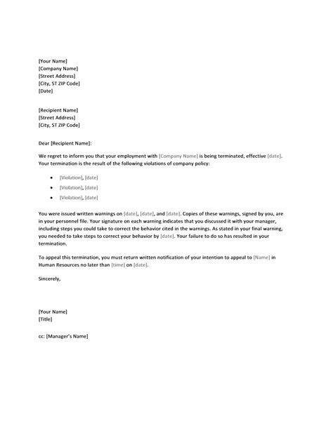 letter termination due policy violation printable