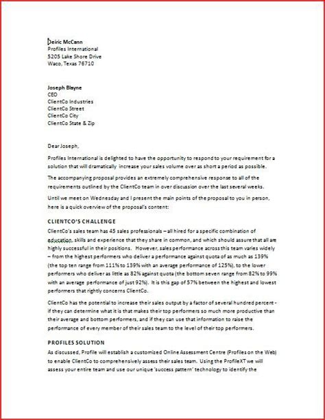 business proposal cover letter learn how to increase