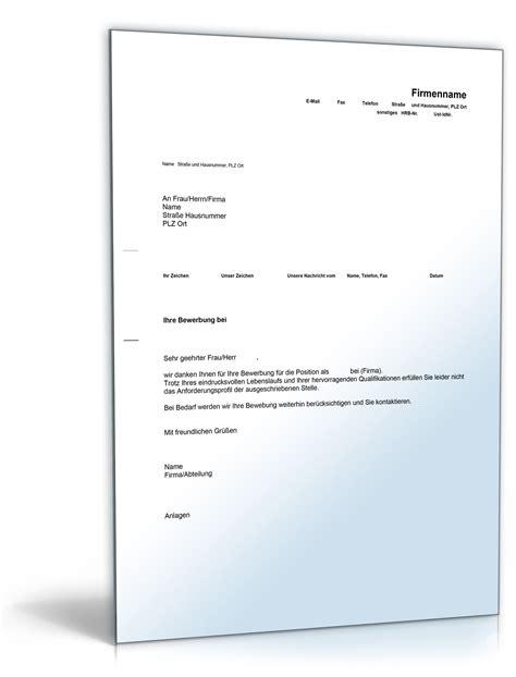 Absage Bewerbung Email Vorlage bewerbungsabsage englisch vorlage zum
