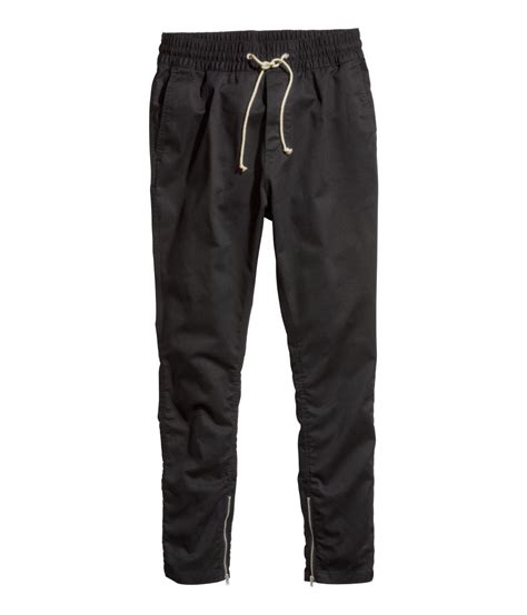 H M Joger 4 h m twill joggers in black for lyst