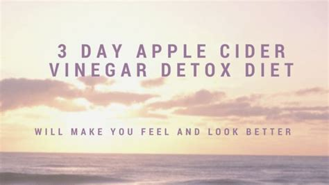 3 Day Apple Detox Acne by 3 Day Apple Cider Vinegar Detox Diet Exercise