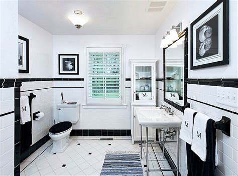 black and white bathroom design black and white tile bathroom decorating ideas pictures