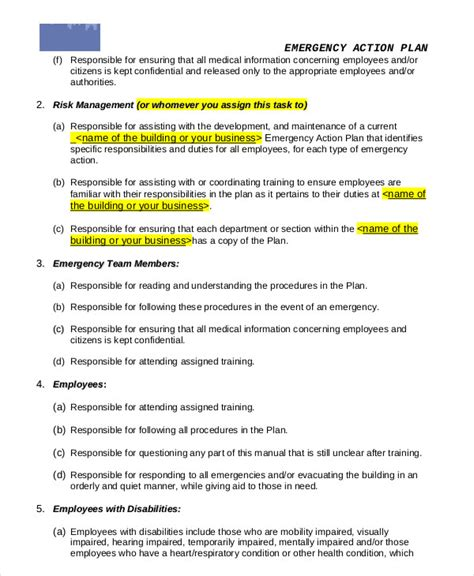 emergency action plan template for home unique example business