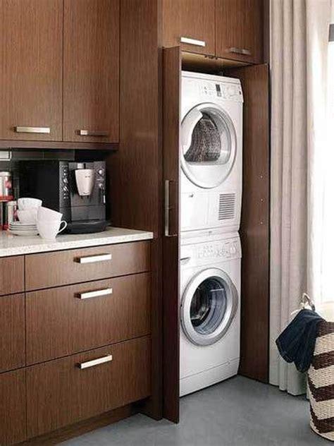 wooden hidden laundry cabinet