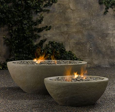 Restoration Hardware Firepit Concrete Outdoor Fireplace River Rock Bowl From Restoration Hardware Digsdigs