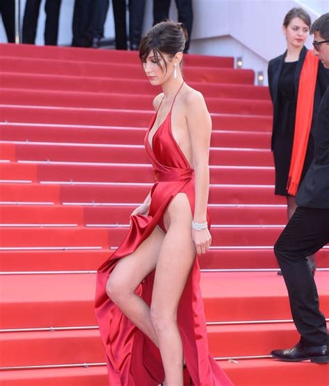 hadid suffers wardrobe malfunction at cannes opening