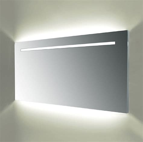 wide and illuminated bathroom mirror with backlit effect