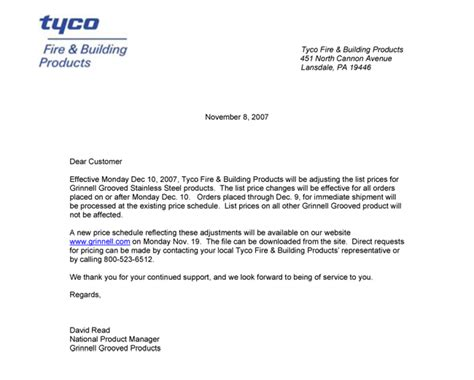 iso certification announcement letter tyco products