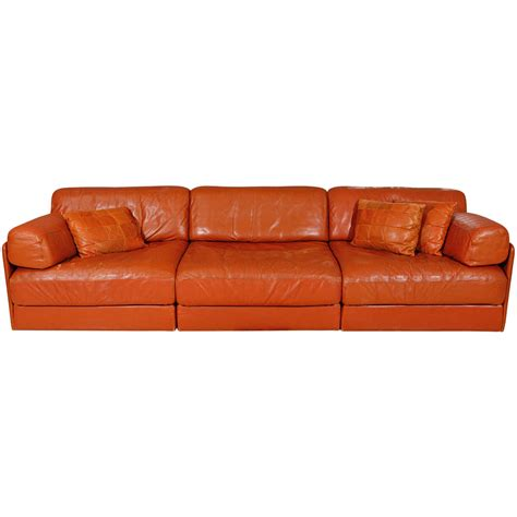 Modular Sectional Sofa Leather Modular Leather Sleeper Sofa By De Sede At 1stdibs