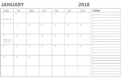 printable calendar landscape 2018 january 2018 calendar landscape portrait printable