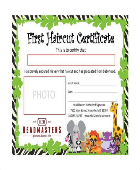 gift certificate for free haircut template image