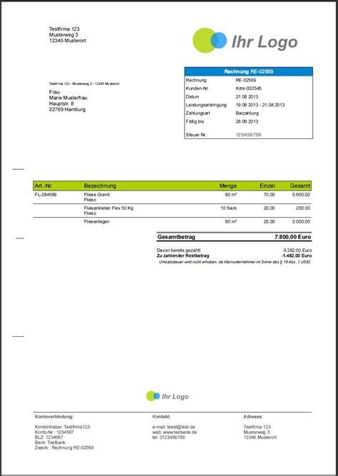 Muster Rechnung Handwerk Faktura Software Handwerk