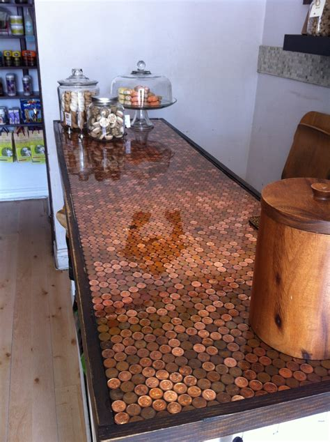 penny bar top diy penny countertop at the bone house kitchens pinterest