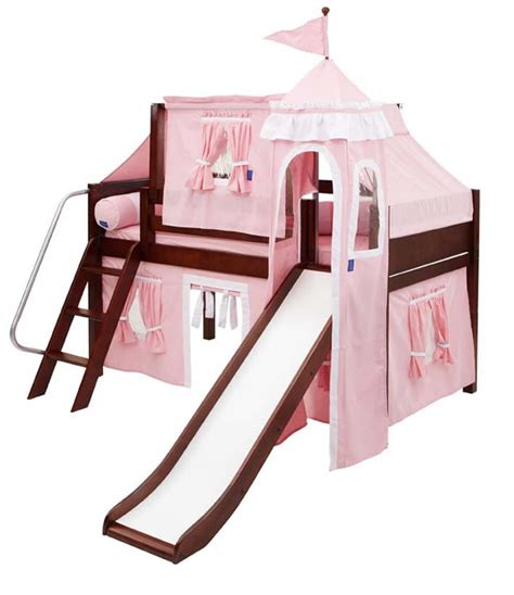 Princess Castle Bed With Slide By Maxtrix Kids Pink White Princess Bed With Slide