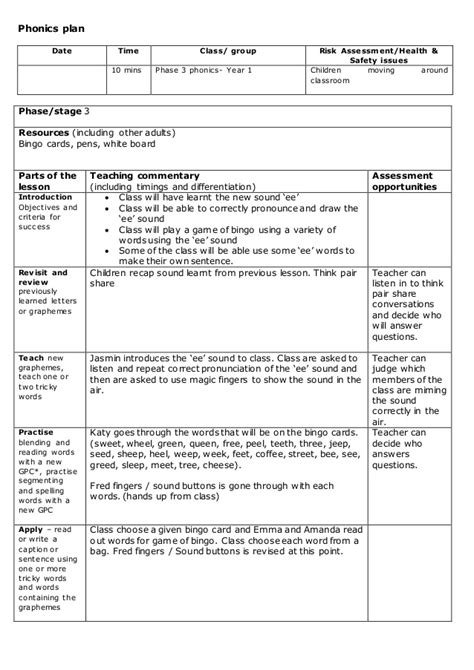 lesson plan template phonics phonics lesson plan phase 3