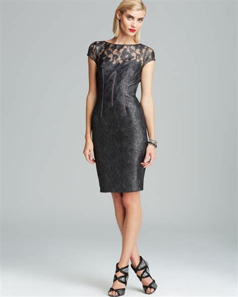 Wst 9645 Lace Neck Dress Ml ml lhuillier dress metallic lace open back in gray