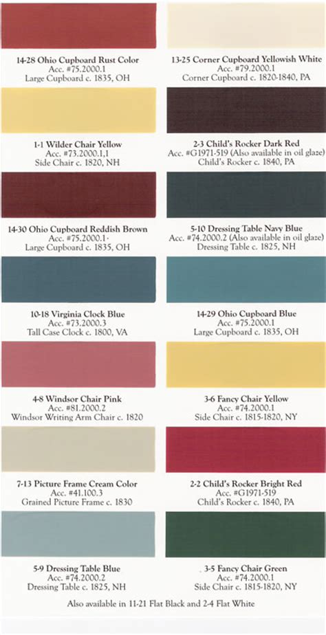 american spirit color chart paint colors