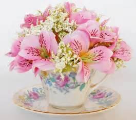 Monochromatic Flower Arrangements - teacup flowers pink honeysuckle vintage cup amp saucer teacup