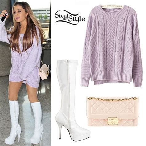 what is ariana grandes style ariana grande purple knitted sweater outfit style steal