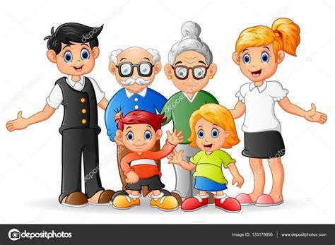 imagenes de la familia animadas familia feliz de dibujos animados vector de stock