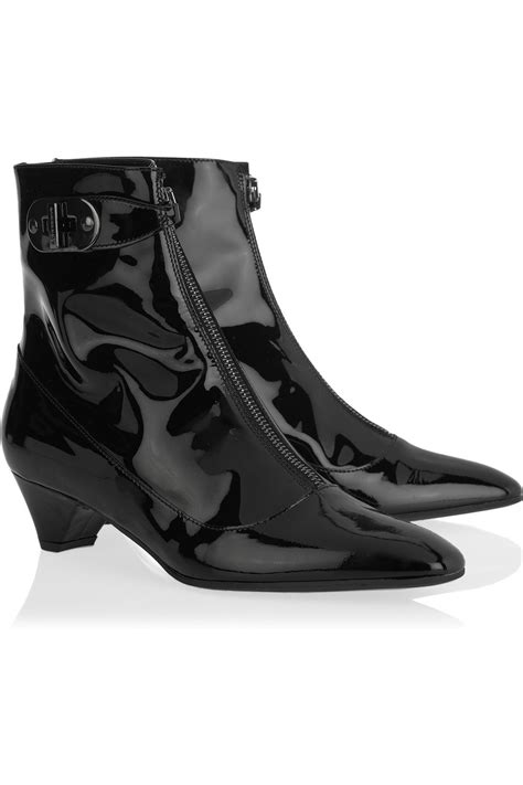 burberry patent leather ankle boots in black lyst