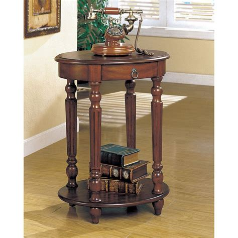 Solid Brown Cherry Wood Round End Table Living Room Side Solid Wood Living Room Tables