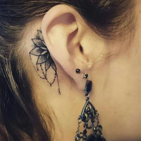 behind ear tattoos so beautiful and simple ear ideas
