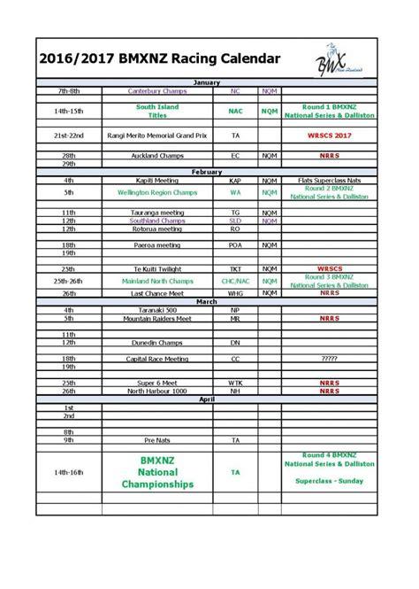 Race Calendar 2016 2017 Bmxnz Race Calendar Bmx Net Nz
