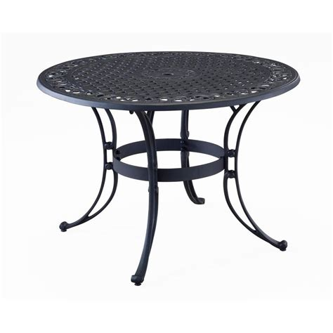 Home Styles Biscayne 48 In Black Round Patio Dining Table 48 Patio Table