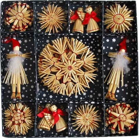 scandinavian swedish straw christmas ornaments 38 pc bx