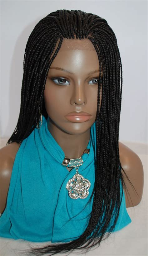 wigs to wear with braids fully hand braided lace front wig micro braids color 1 in