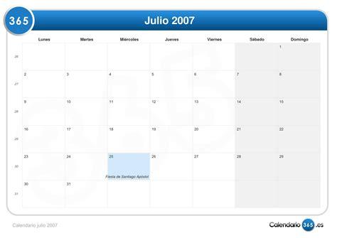 Calendario Julio 2007 Calendario Julio 2007