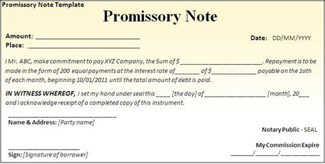 promissory note archives fine templates