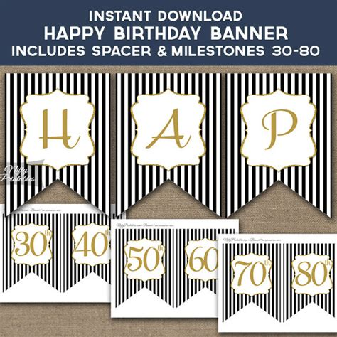 printable happy birthday banner black and white birthday banner printable happy birthday banner black gold
