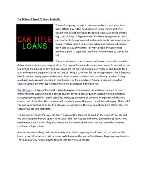 Car Loan Types Available by The Different Types Of Loans Available