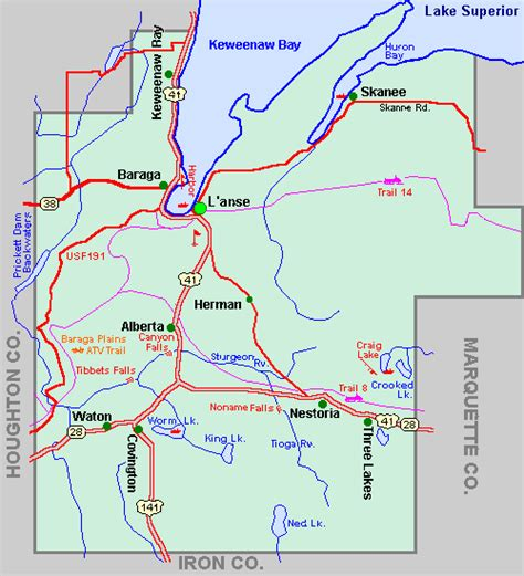 Baraga County Mi Property Records Baraga County Map Tour Lakes Snowmobile Atv River Hike Hotels Motels