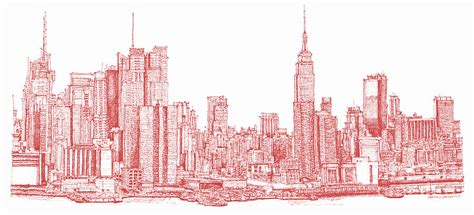 new york city ink drawing by building