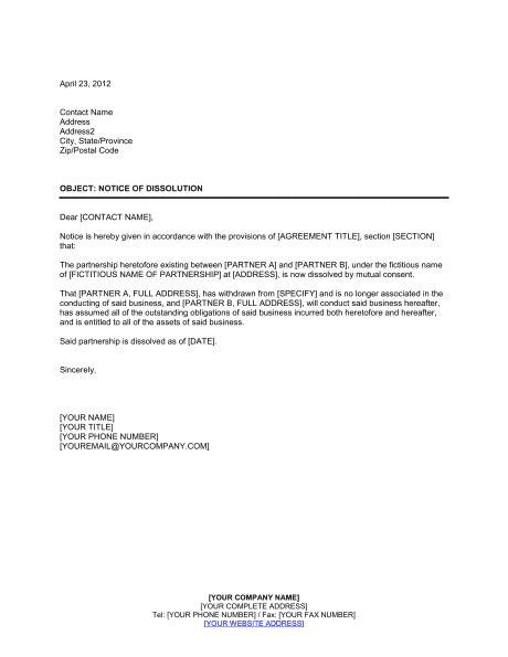 notice dissolution partnership template word