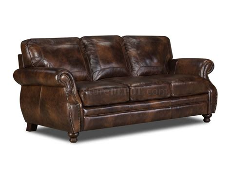Brown Top Grain Leather Traditional Sofa W Optional Items Top Grain Leather Sofa