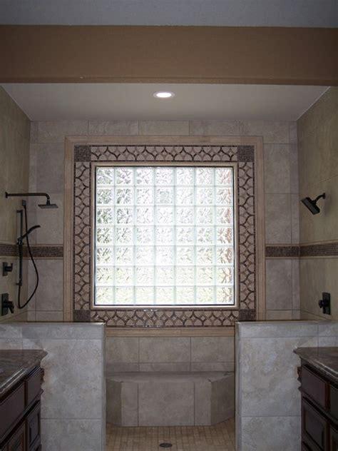 decorative bathroom windows decorative tile around glass block window traditional