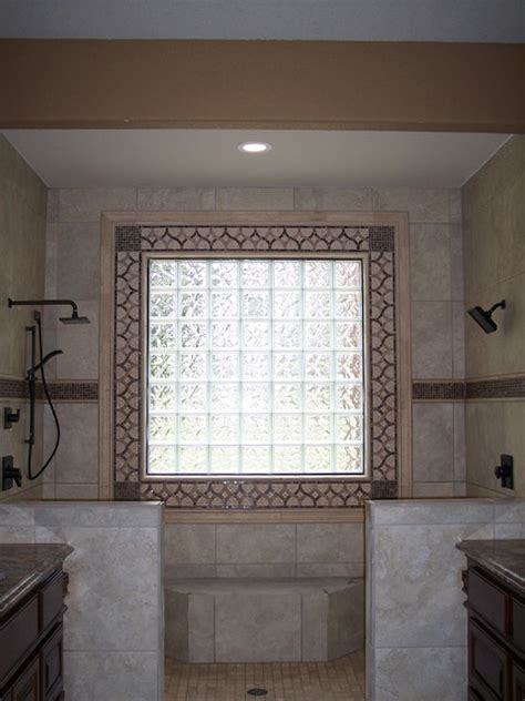 Decorative tile around glass block window   Traditional