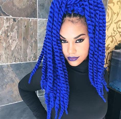 Eunice Blue Color Havana Twist Crochet Braids With